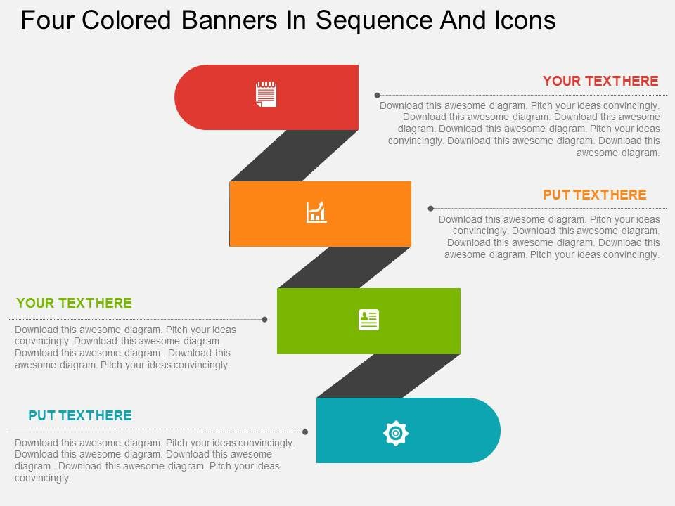 dn Four Colored Banners In Sequence And Icons Flat