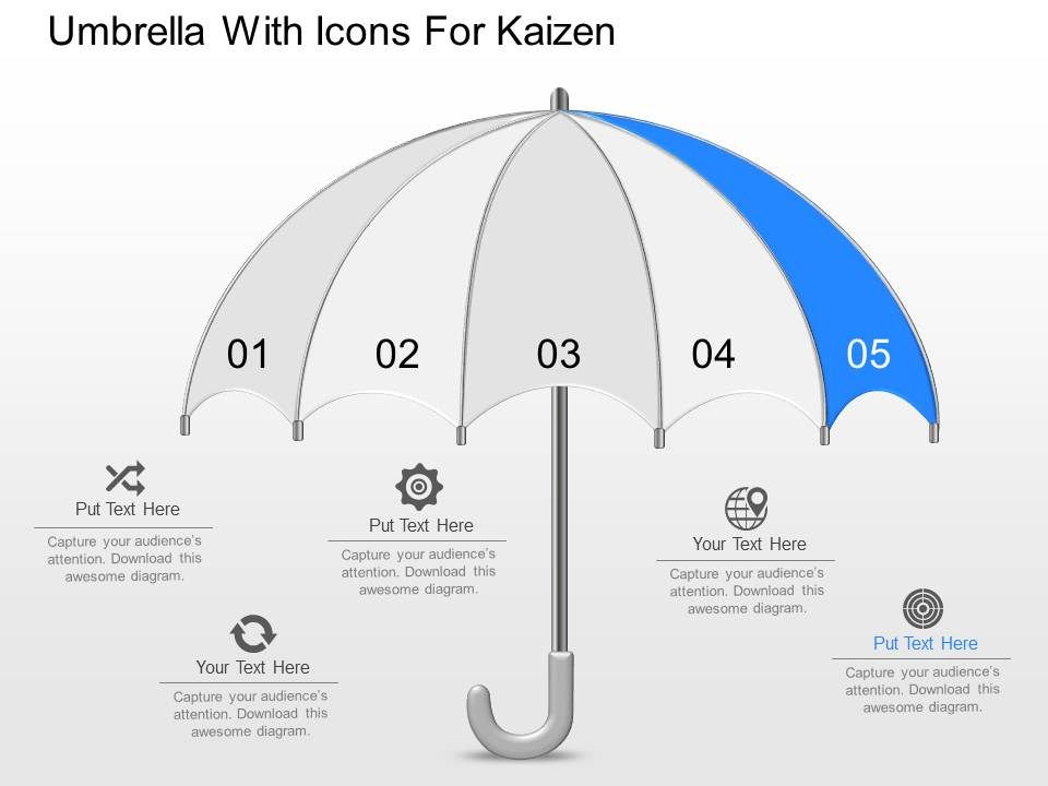 Dn Umbrella With Icons For Kaizen Powerpoint Template