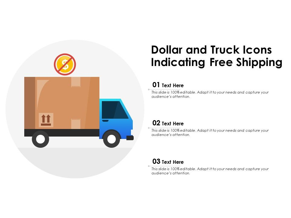 Dollar And Truck Icons Indicating Free Shipping