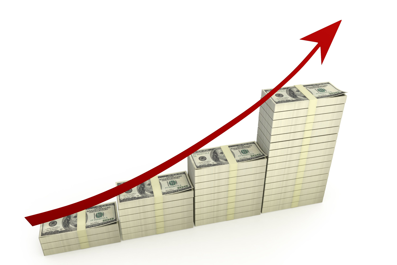 Dollar Bar Graph With Red Growth Arrow Stock Photo | Presentation