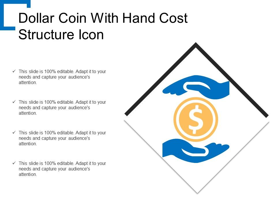 dollar coin with hand cost structure icon powerpoint design template sample presentation ppt presentation background images slideteam