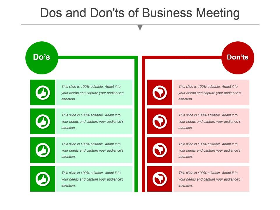 Dos And Donts Of Business Meeting Powerpoint Templates Powerpoint Slide Images Ppt Design Templates Presentation Visual Aids