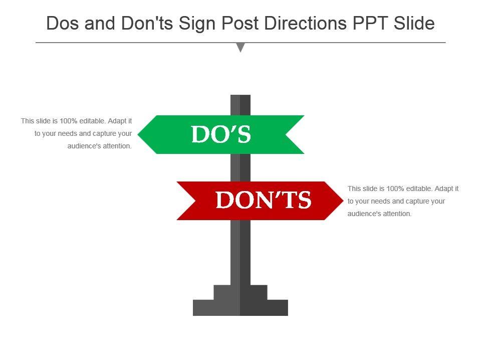 dos_and_donts_sign_post_directions_ppt_slide_Slide01