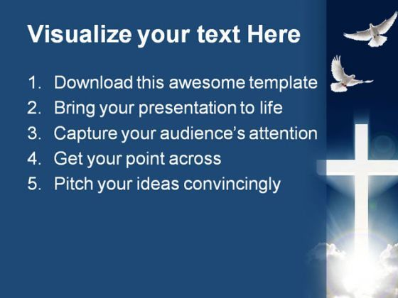 Dove Cross Religion Powerpoint Template 0610 | Template