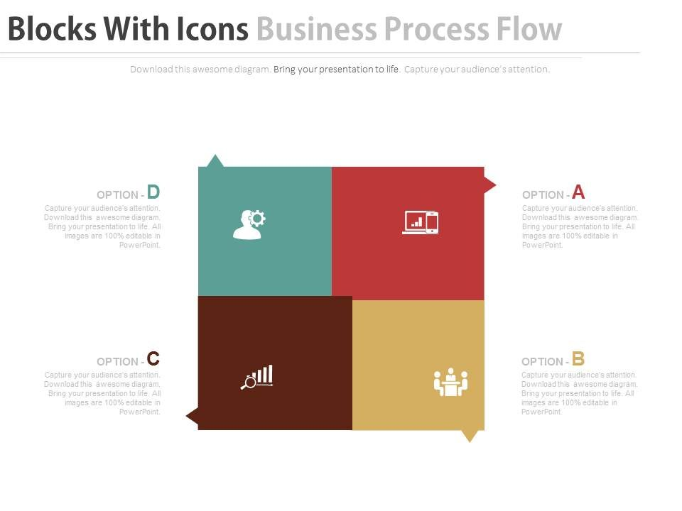 Download four blocks with icons business process flow flat for 4 blocker template