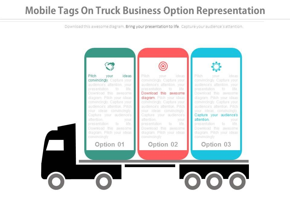 download_three_mobile_tags_on_truck_business_option_representation_flat_powerpoint_design_Slide01