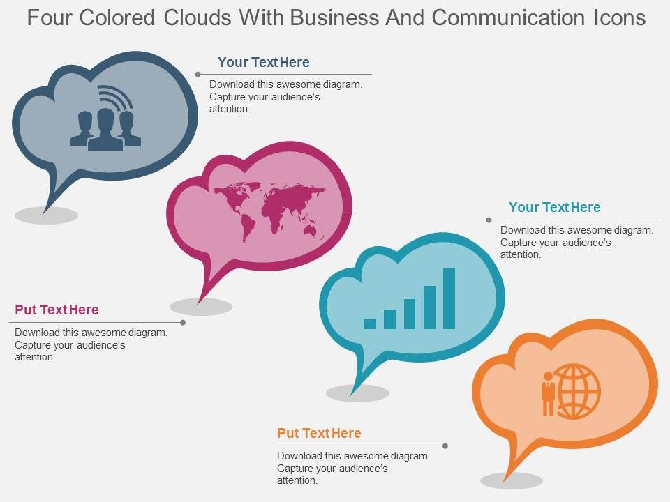 dp_four_colored_clouds_with_business_and_communication_icons_flat_powerpoint_design_Slide01