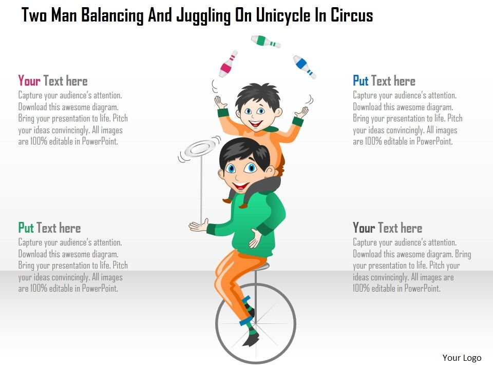 Dr Two Man Balancing And Juggling On Unicycle In Circus Powerpoint Template Slide01