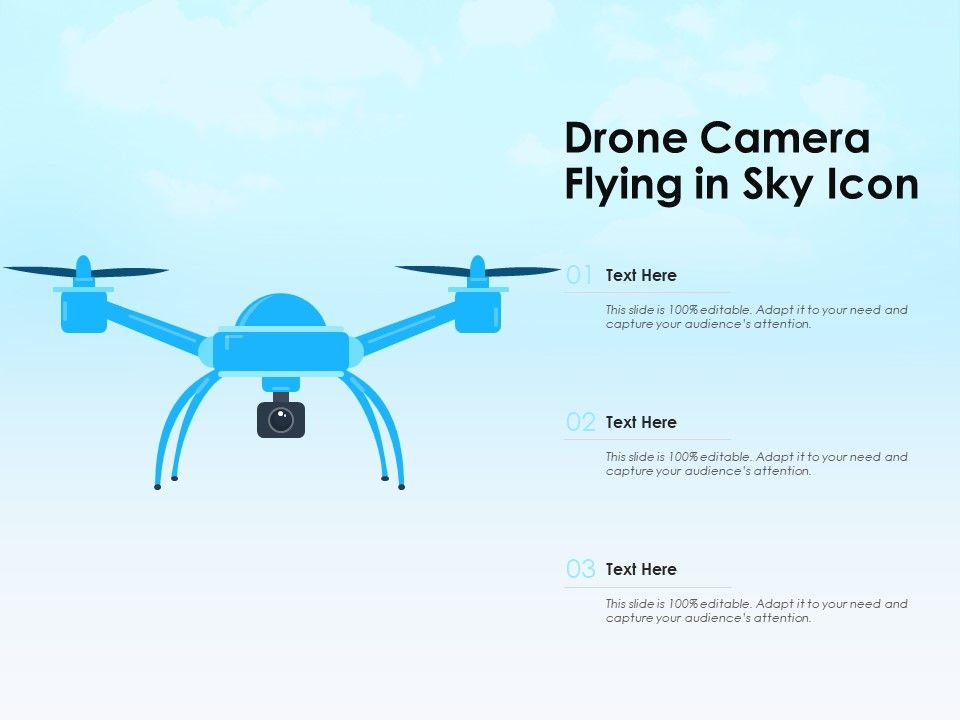 Drone Camera Flying In Sky Icon Powerpoint Templates Backgrounds Template Ppt Graphics Presentation Themes Templates