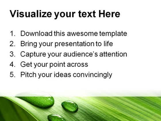 Drop And Leaf Nature Powerpoint Template 0910 | Ppt Images Gallery