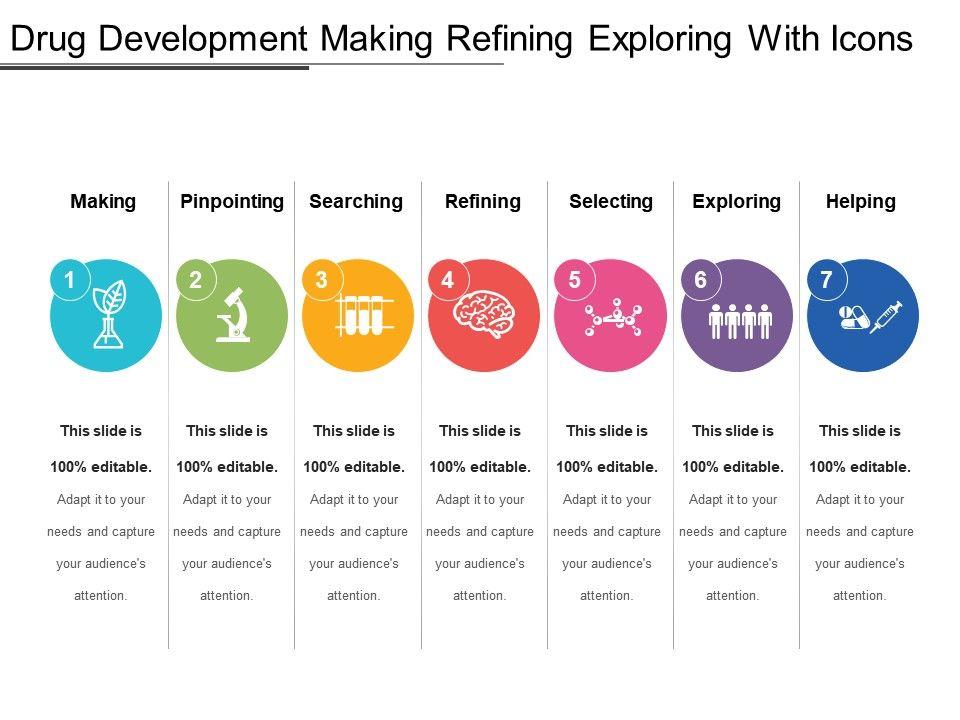 drug_development_making_refining_exploring_with_icons_Slide01