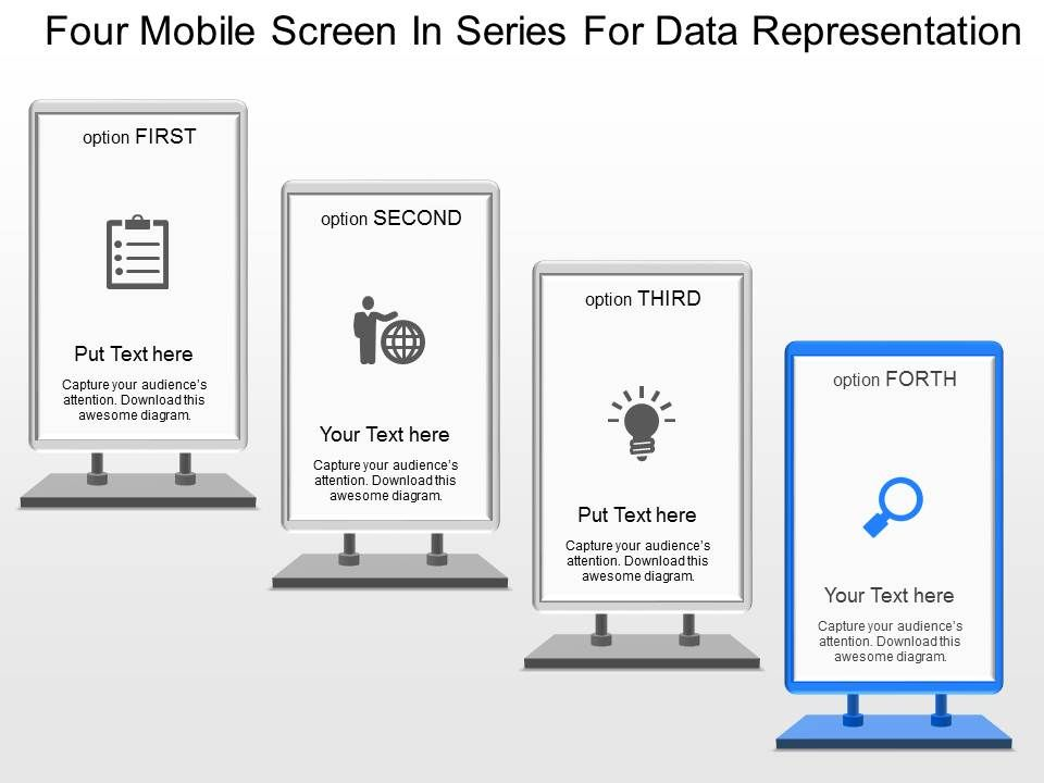 dt four mobile screen in series for data representation powerpoint, Modern powerpoint