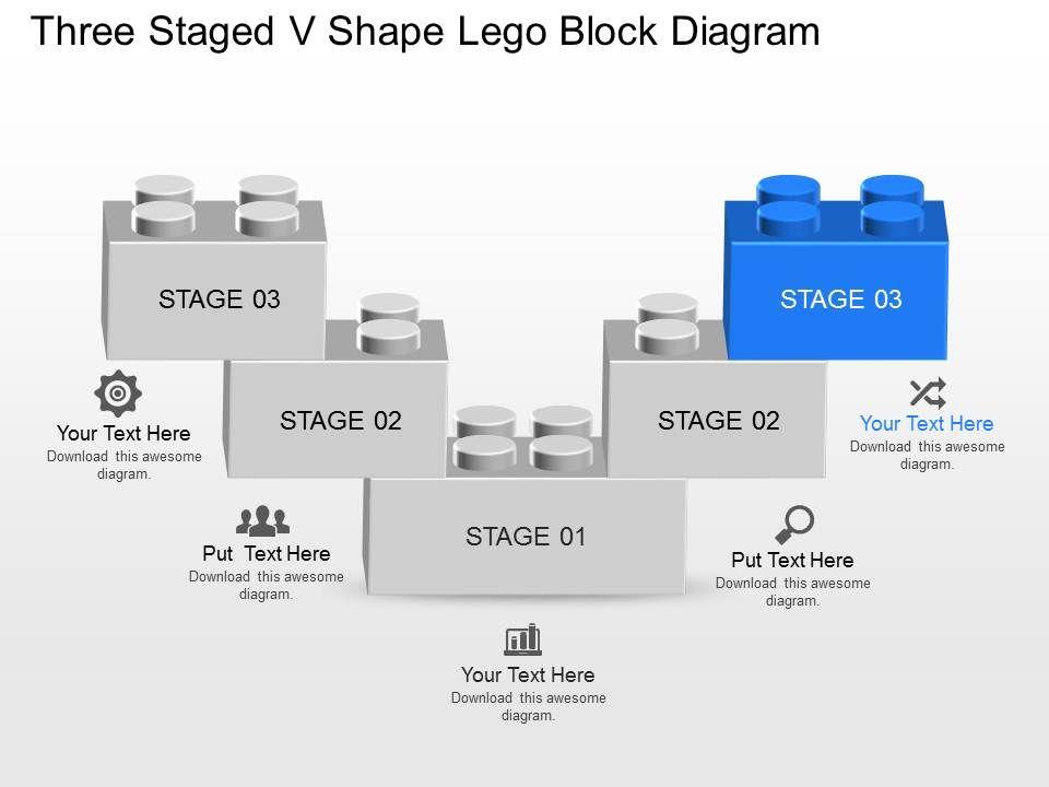 Dt Three Staged V Shape Lego Block Diagram Powerpoint Template |  Presentation PowerPoint Templates | PPT Slide Templates | Presentation  Slides Design IdeaSlideTeam