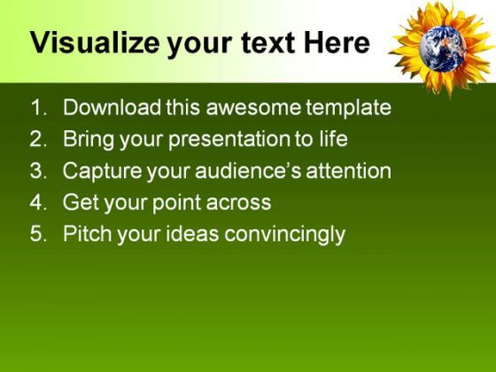 Earth With Flower Nature Powerpoint Templates And Powerpoint Backgrounds 0511 Presentation Powerpoint Images Example Of Ppt Presentation Ppt Slide Layouts