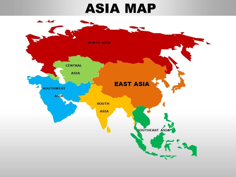 The Continent Of Asia Map.East Asia Continents Powerpoint Maps Powerpoint Presentation