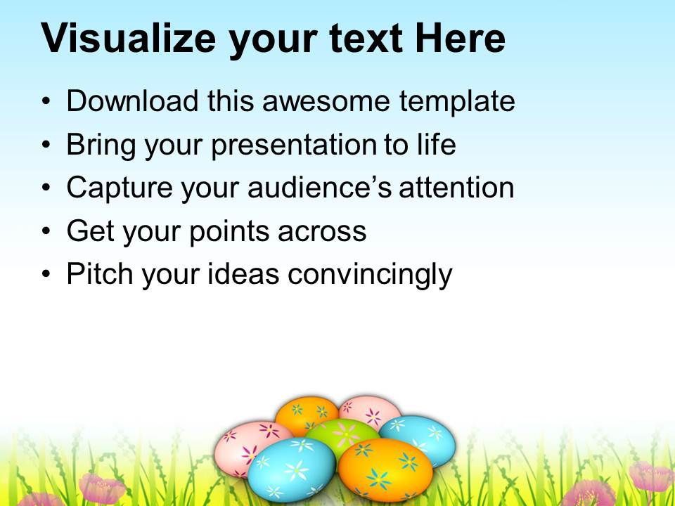 Easter Bunnies Colorful Eggs On Grass Tradition Powerpoint – Sample Easter Powerpoint Template