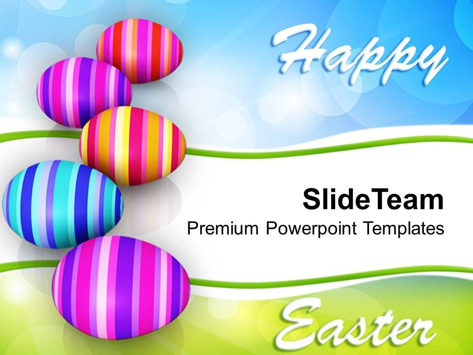 Easter Bunny Row Of Colorful Eggs Celebration Powerpoint Templates