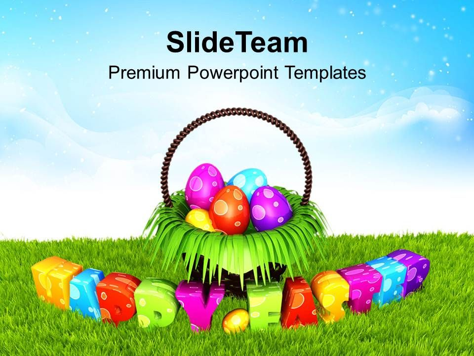 Easter Egg Clipart Happy Eggs In Garden Theme Powerpoint Templates Ppt Backgrounds For Slides Slide01
