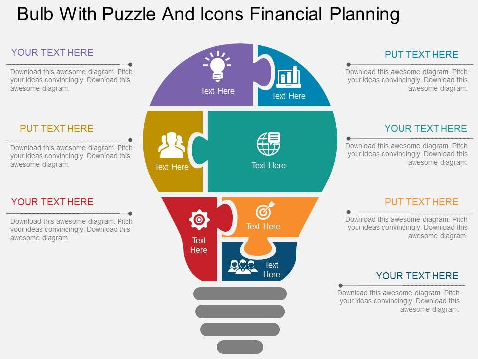 sales slick template - eb bulb with puzzle and icons financial planning flat