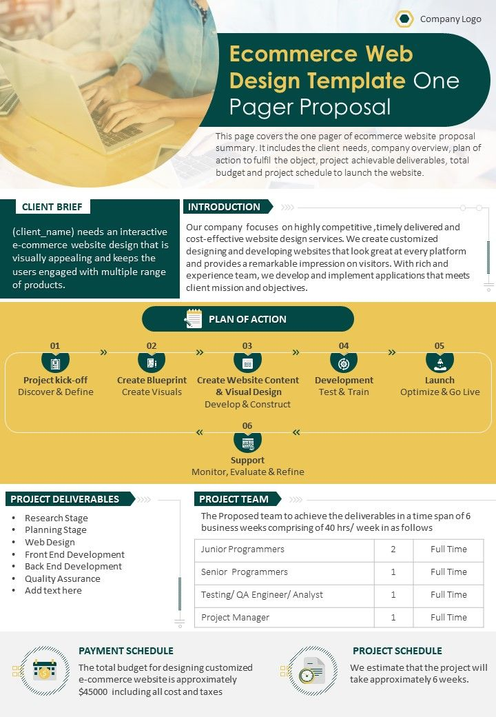 Ecommerce Web Design Template One Pager Proposal Presentation Report Infographic PPT PDF Document