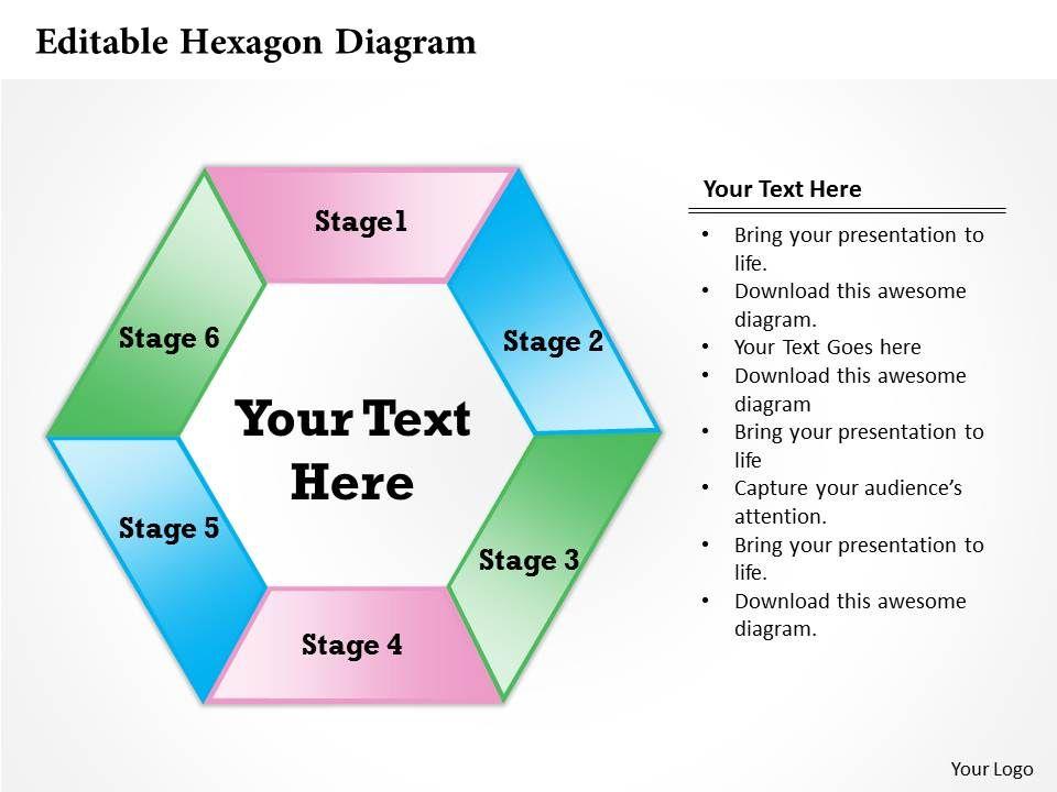 Editable Hexagon Diagram Powerpoint Template Slide Powerpoint