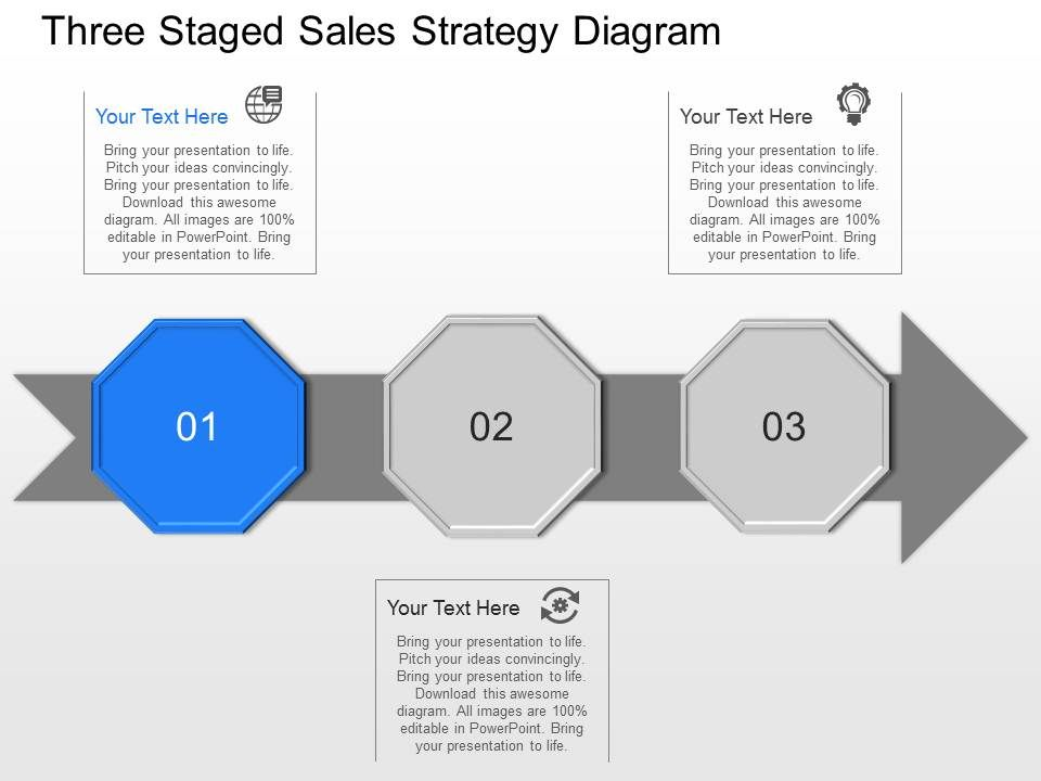 Ee Three Staged Sales Strategy Diagram Powerpoint Template Slide ...