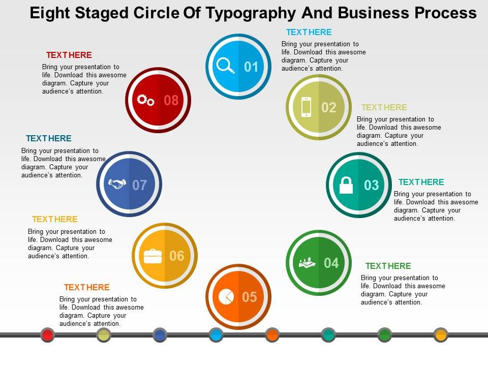Eight Staged Circle Of Typography And Business Process Flat