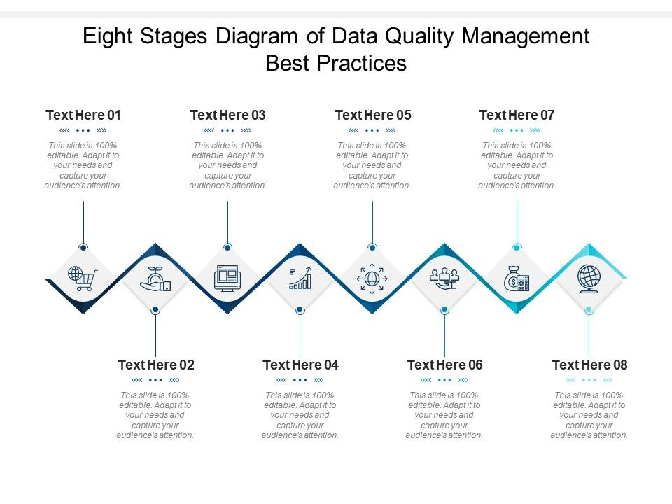 Eight Stages Diagram Of Data Quality Management Best Practices Infographic Template