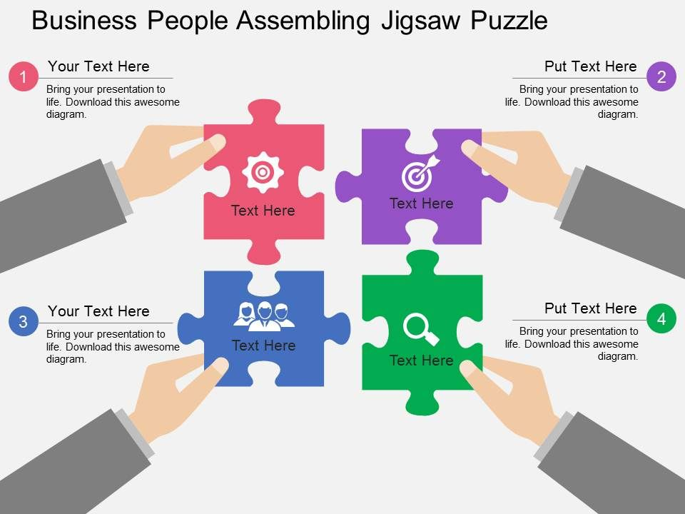 Ek Business People Assembling Jigsaw Puzzle Flat Powerpoint Design