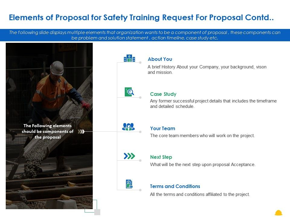 Elements Of Proposal For Safety Training Request For Proposal Contd Ppt Powerpoint Presentation Model Styles