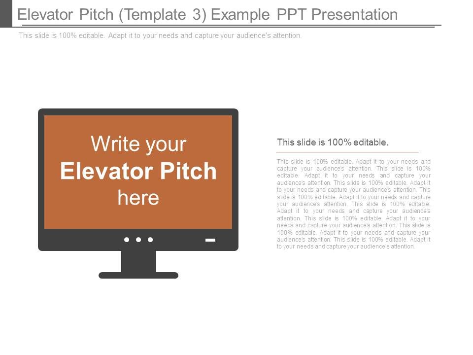 Elevator Pitch Template 3 Example Ppt Presentation Powerpoint