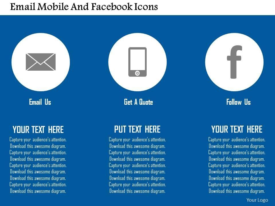 Email Mobile And Facebook Icons Flat Powerpoint Design Powerpoint