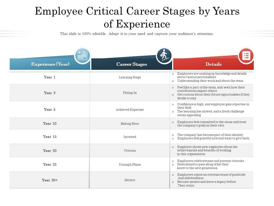 Employee Critical Career Stages By Years Of Experience