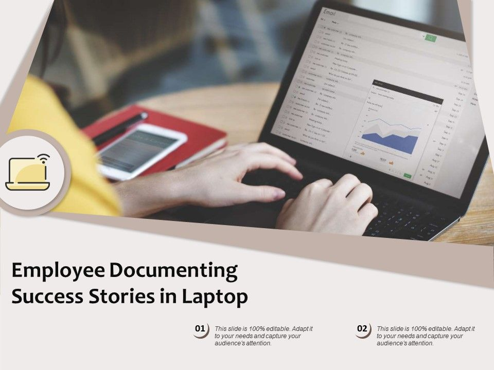 Employee Documenting Success Stories In Laptop
