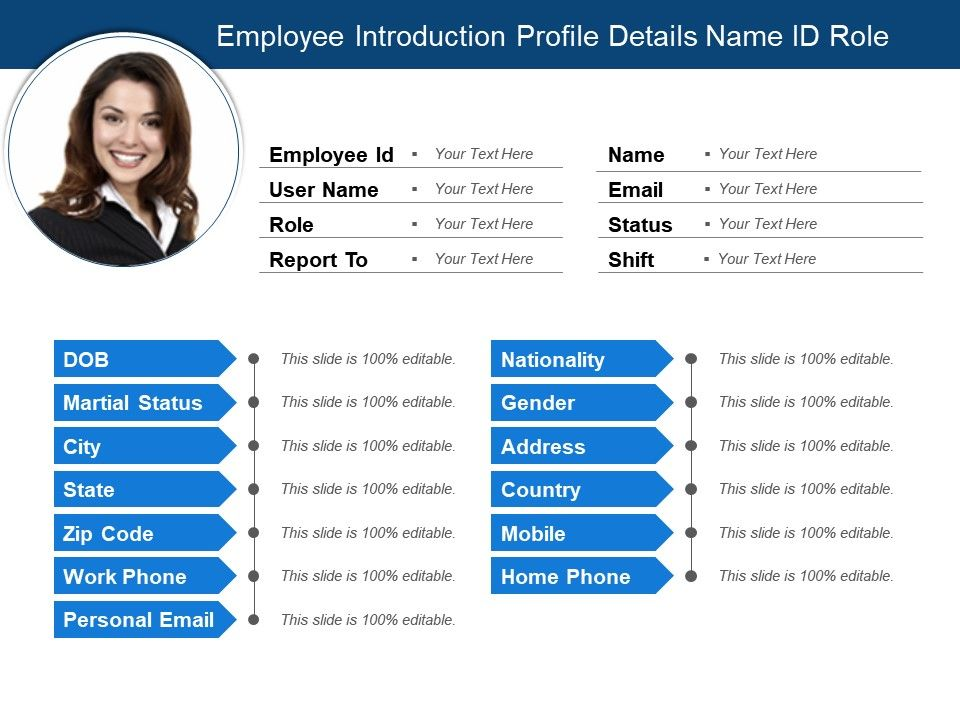 employee introduction profile details name id role templates