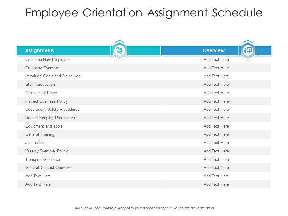 Employee Orientation Assignment Schedule