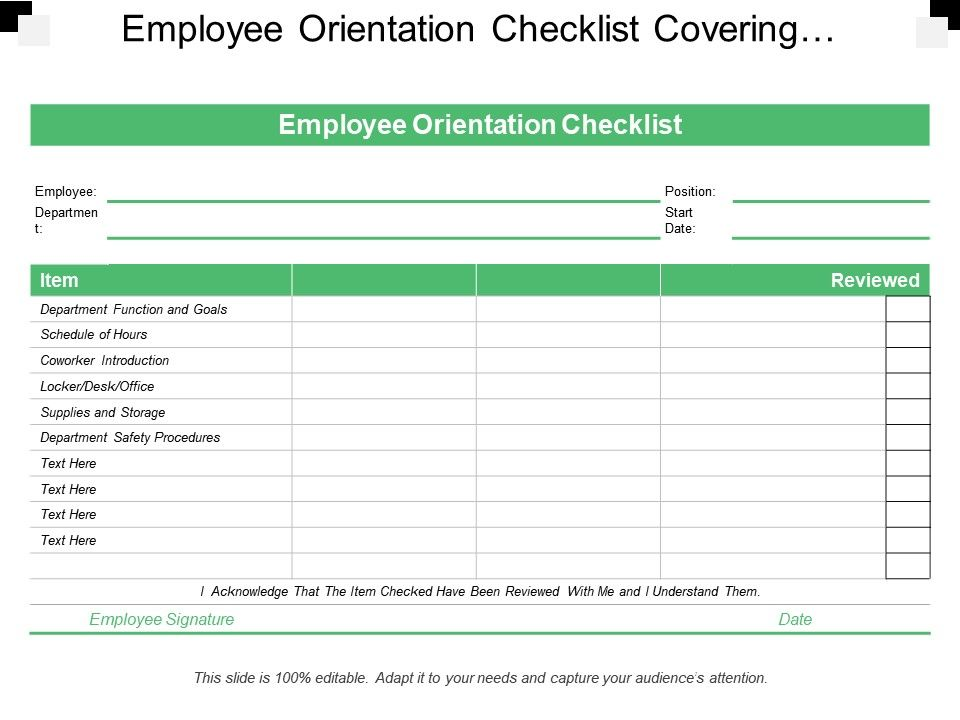 employee orientation checklist covering departments items