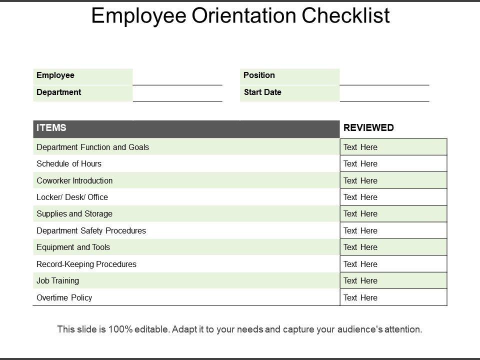 employee orientation checklist powerpoint slide graphics