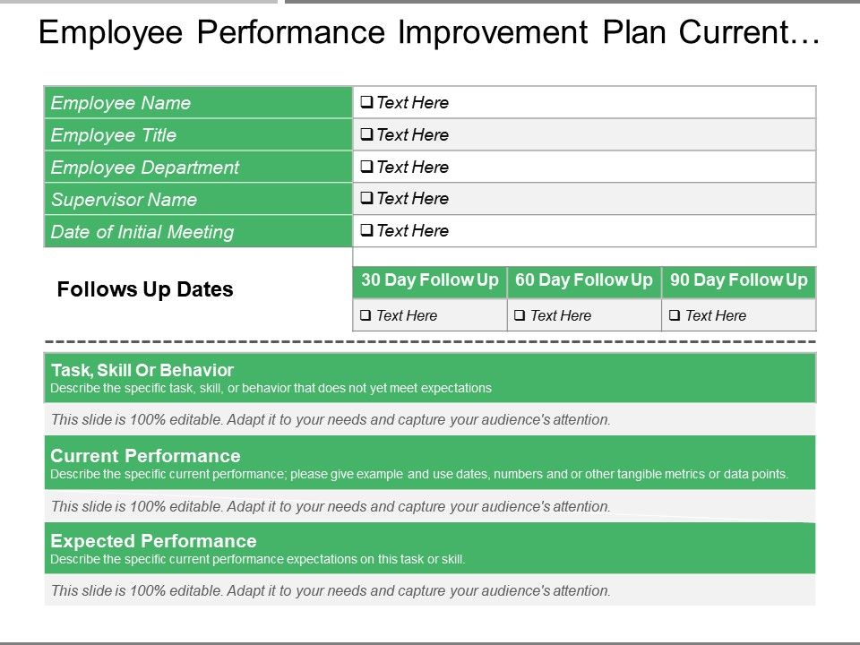 employee performance improvement plan current and expected