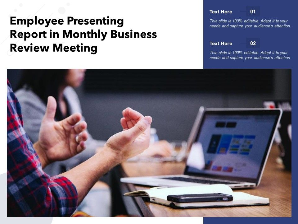 Employee Presenting Report In Monthly Business Review Meeting
