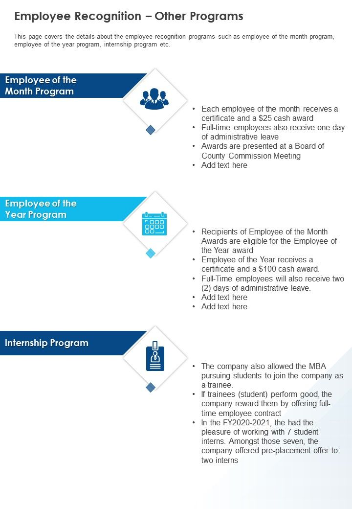 Employee Recognition Other Programs Presentation Report Infographic PPT PDF Document