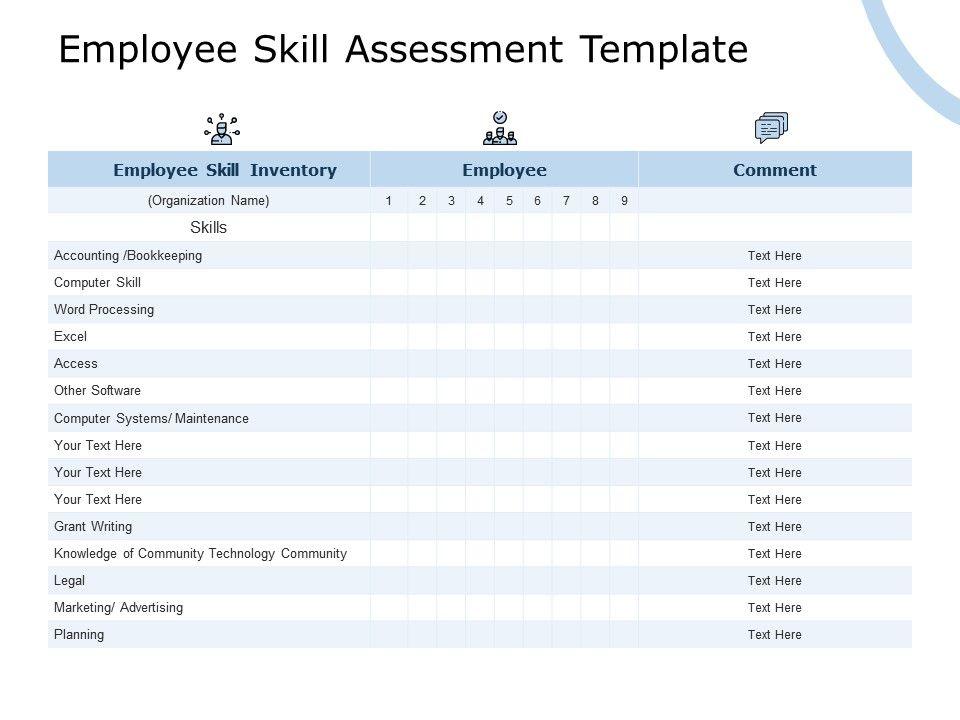 Employee Skill Assessment Template Maintenance Ppt Powerpoint Presentation Summary Portfolio