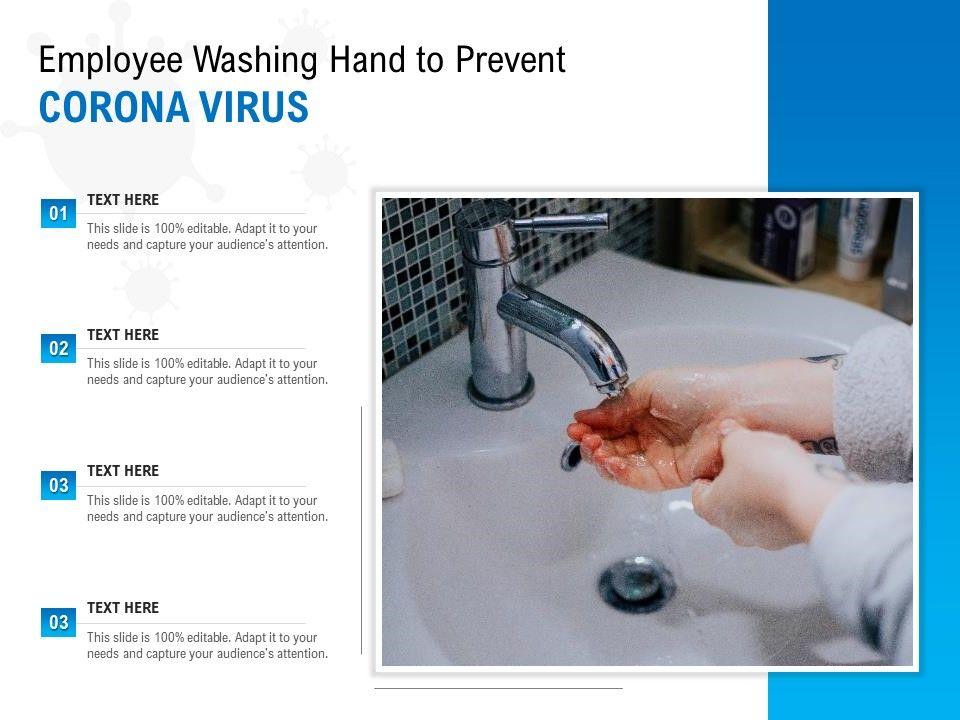 Employee Washing Hand To Prevent Corona Virus