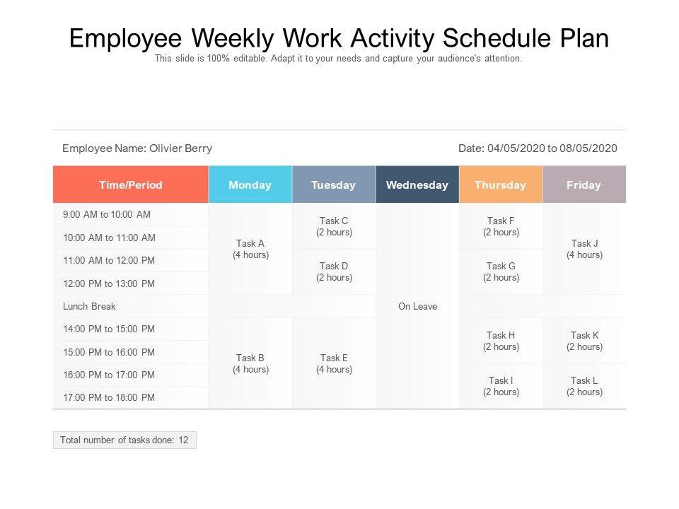 Employee Weekly Work Activity Schedule Plan