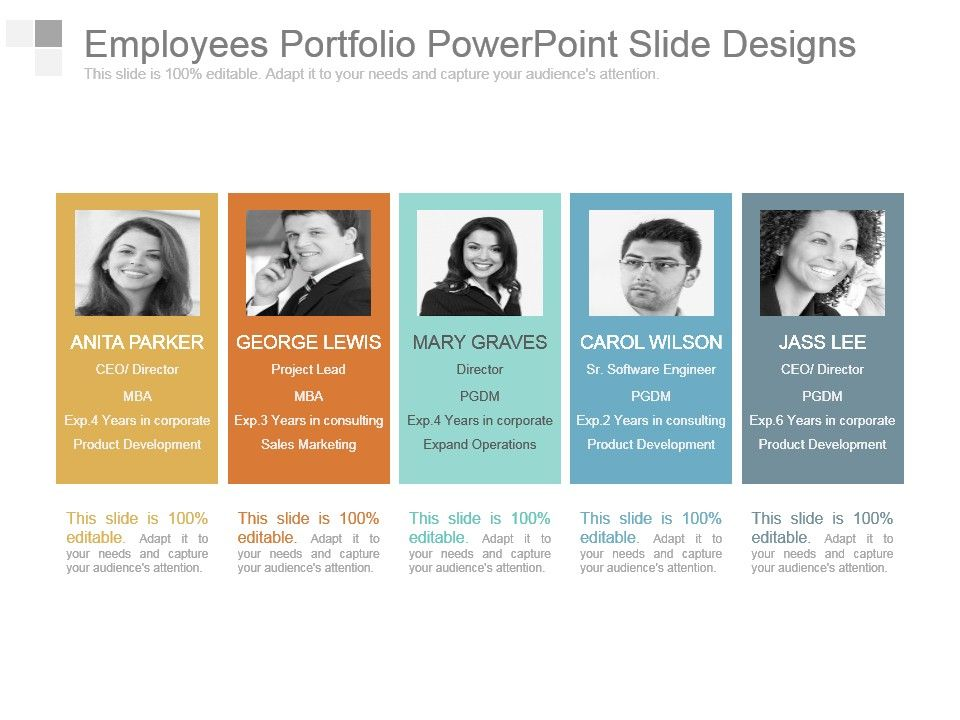 employees portfolio powerpoint slide designs powerpoint