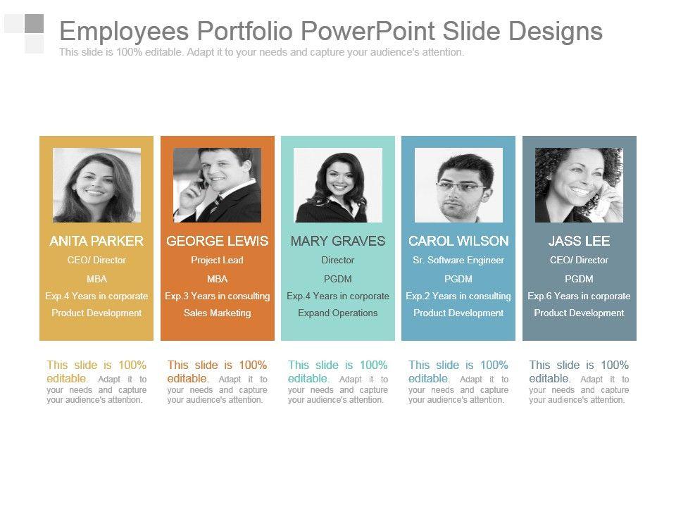 employees portfolio powerpoint slide designs powerpoint