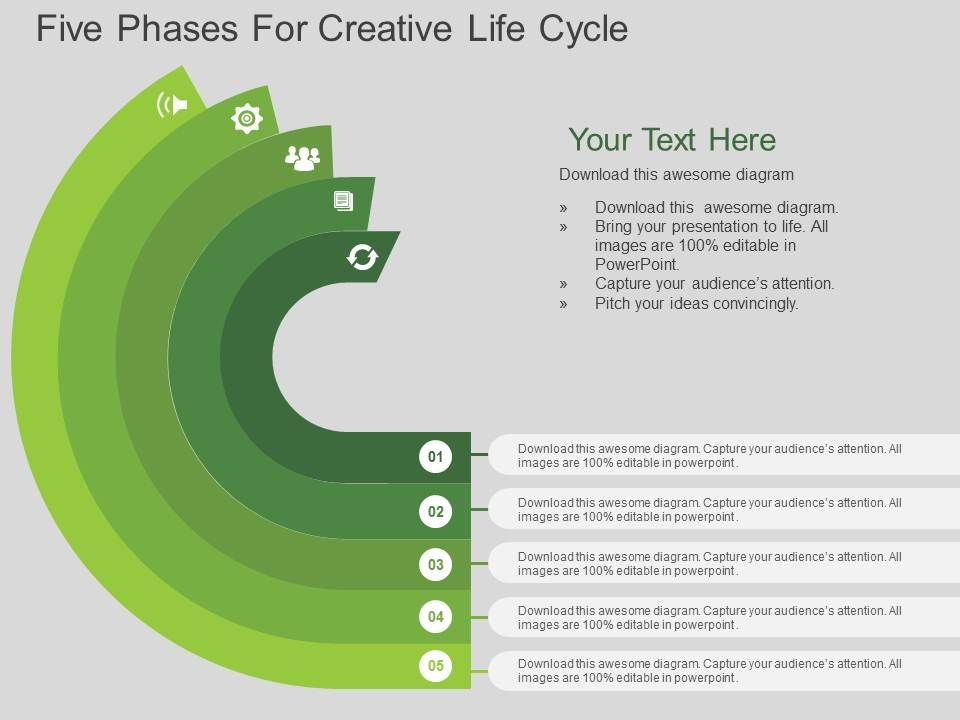 3c74feba33d en five phases for creative life cycle flat powerpoint design Slide01.  en five phases for creative life cycle flat powerpoint design Slide02