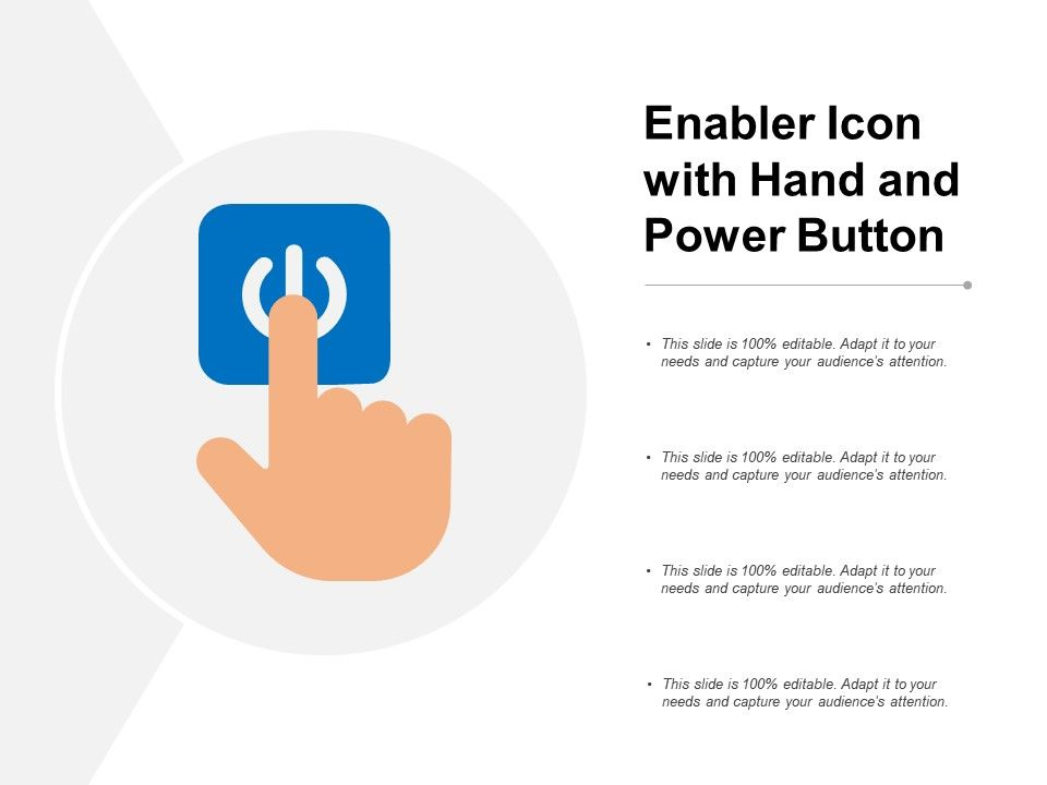 Enabler Icon With Hand And Power Button