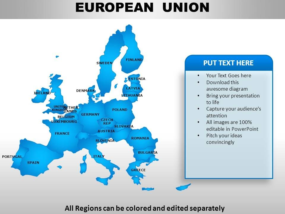 european union continents powerpoint maps | template presentation, Modern powerpoint
