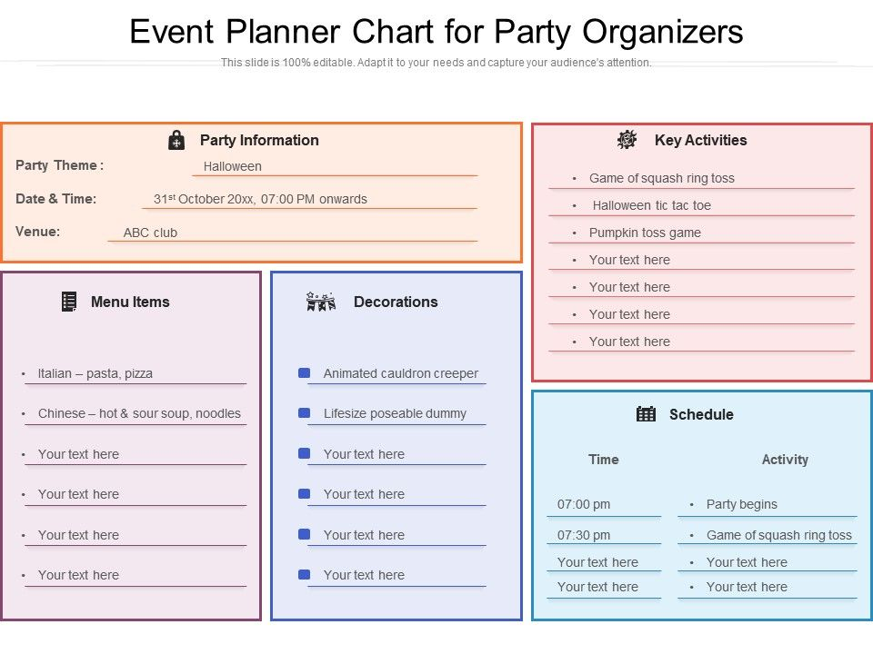 Event Planner Chart For Party Organizers